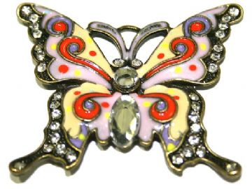 1 x Antique Brass Butterfly Pendant in multi-colour 60x52mm - S.F03 - WC046 - 2502120-4